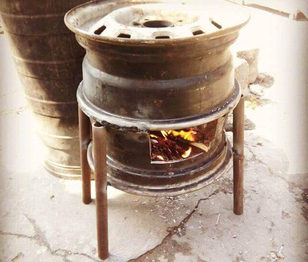 Печь из колесных дисков для бани