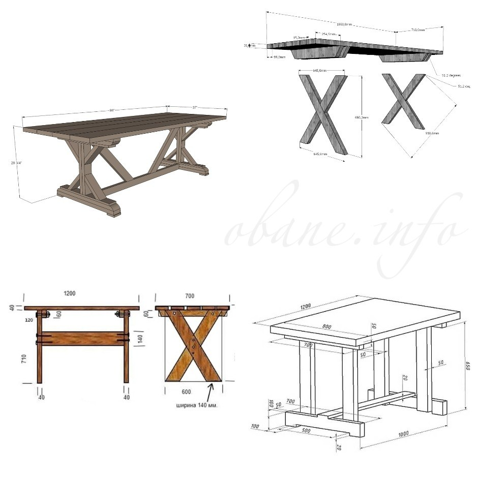 Схема изготовления столов из дерева