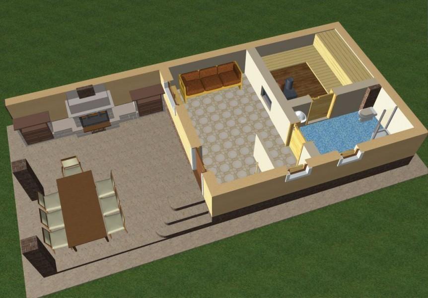 Проект бани из блоков с террасой