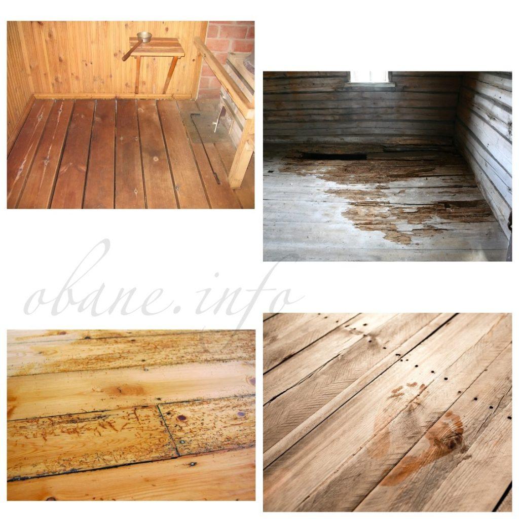 Поврежденное деревянное полотно в бане