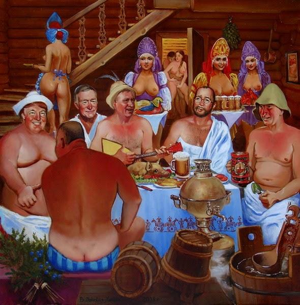 Женщины и мужчины отдыхают в баньке